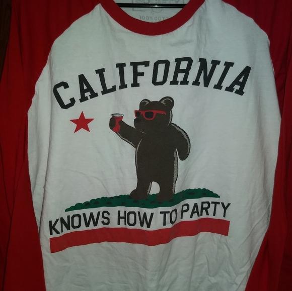 riot society Other - CALIFORNIA PARTY TEE - Long Sleeve Shirt Bear Flag